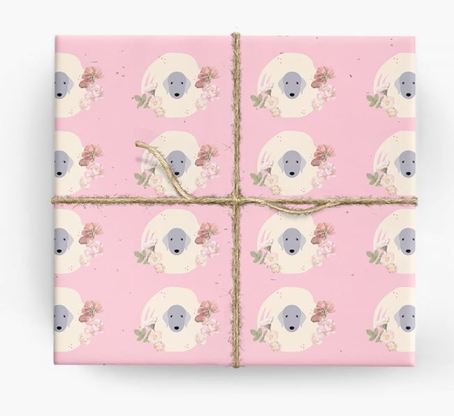 'Flower Pattern' - Personalized Bedlington Terrier Wrapping Paper