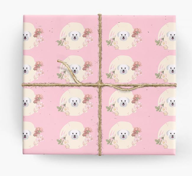 'Flower Pattern' - Personalized Bichon Yorkie Wrapping Paper