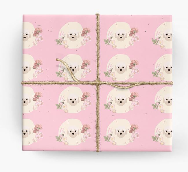 'Flower Pattern' - Personalized Bich-poo Wrapping Paper