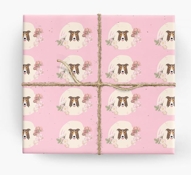 'Flower Pattern' - Personalized Border Collie Wrapping Paper