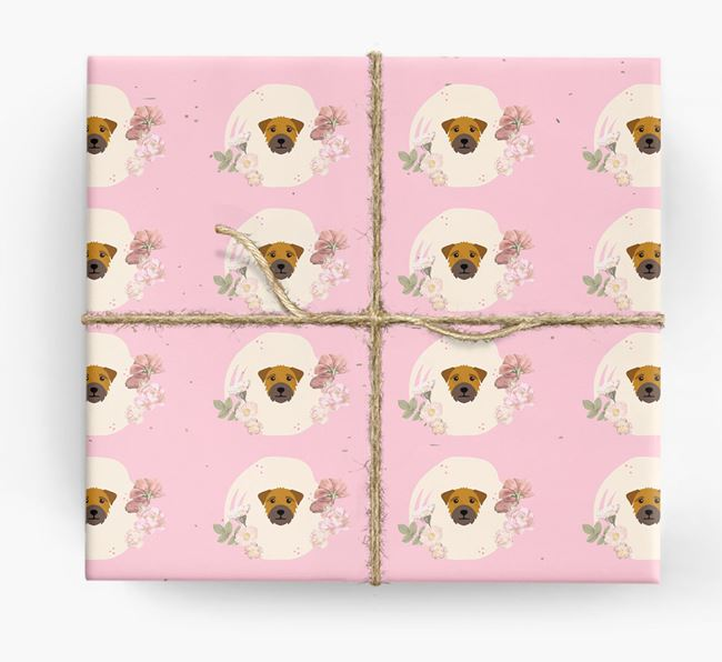 'Flower Pattern' - Personalized Border Terrier Wrapping Paper