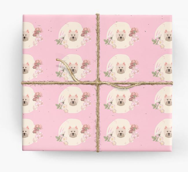 'Flower Pattern' - Personalized Cairn Terrier Wrapping Paper