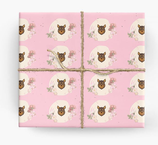 'Flower Pattern' - Personalized Chihuahua Wrapping Paper