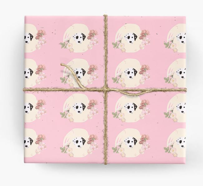 'Flower Pattern' - Personalized Dalmatian Wrapping Paper