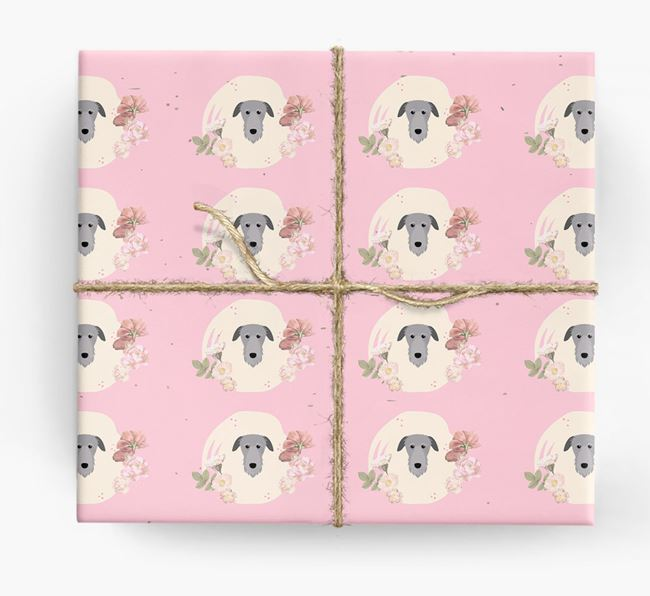 'Flower Pattern' - Personalized Deerhound Wrapping Paper