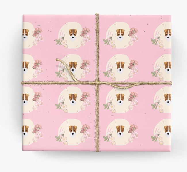 'Flower Pattern' - Personalized Fox Terrier Wrapping Paper