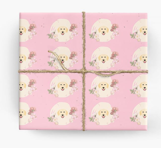 'Flower Pattern' - Personalized Golden Retriever Wrapping Paper
