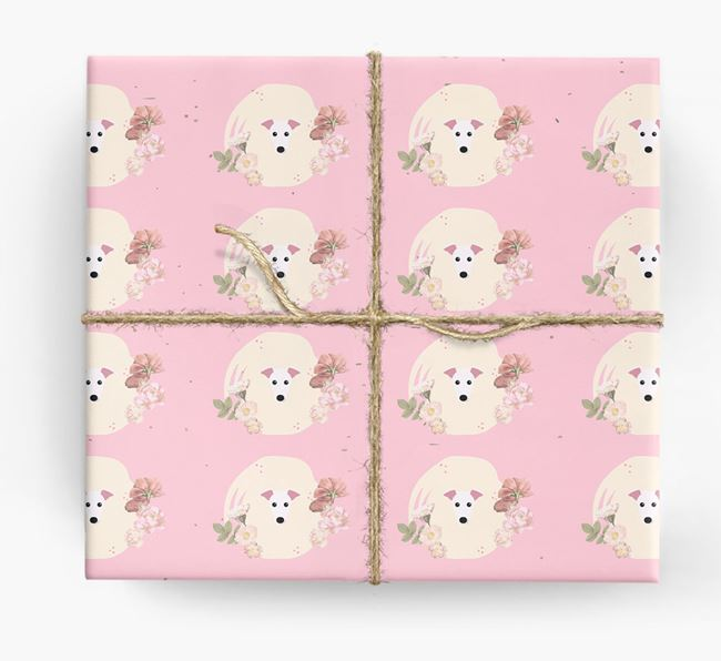 'Flower Pattern' - Personalized Greyhound Wrapping Paper