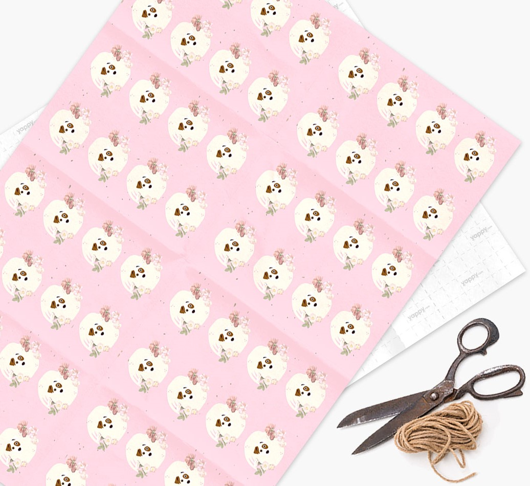 Flower Pattern Wrapping Paper with Dog Icons