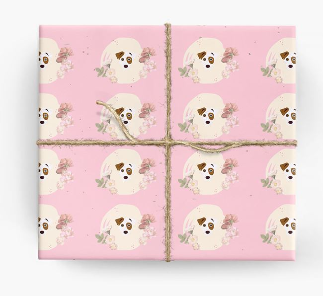 'Flower Pattern' - Personalized Jack Russell Terrier Wrapping Paper