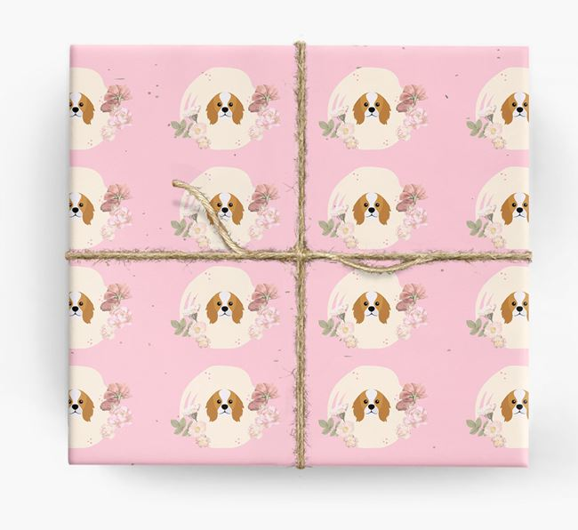 'Flower Pattern' - Personalized King Charles Spaniel Wrapping Paper