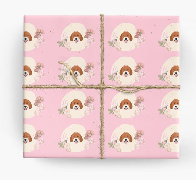 'Flower Pattern' - Personalized Labradoodle Wrapping Paper