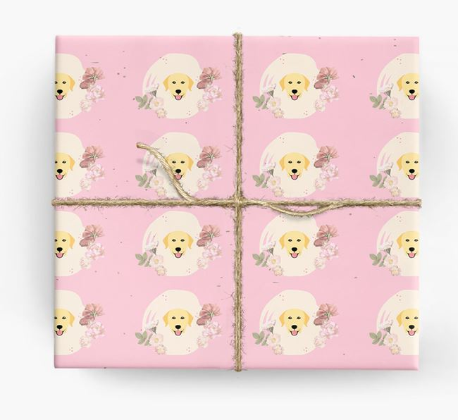 'Flower Pattern' - Personalized Dog Wrapping Paper