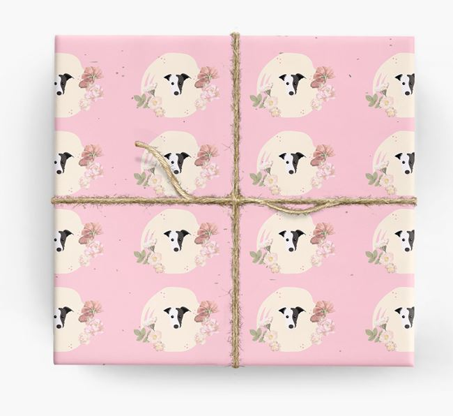'Flower Pattern' - Personalized Lurcher Wrapping Paper