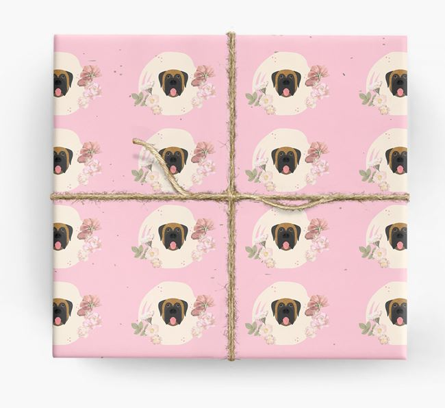 'Flower Pattern' - Personalized Mastiff Wrapping Paper