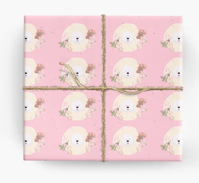 'Flower Pattern' - Personalized Old English Sheepdog Wrapping Paper