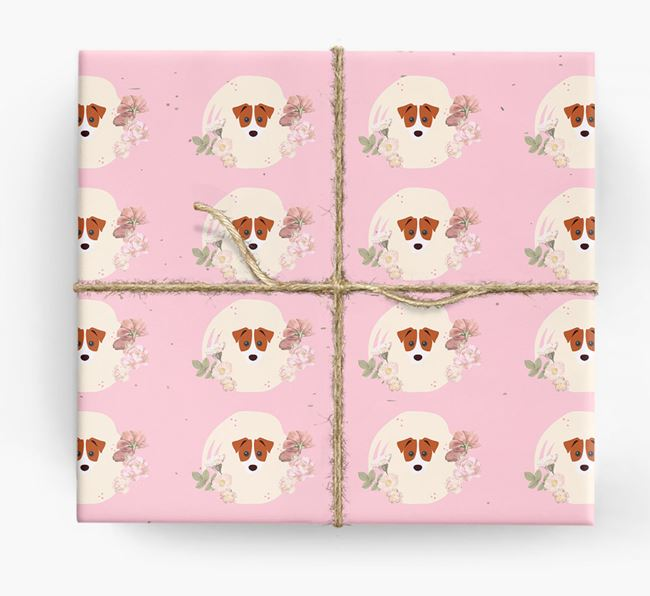 'Flower Pattern' - Personalized Parson Russell Terrier Wrapping Paper