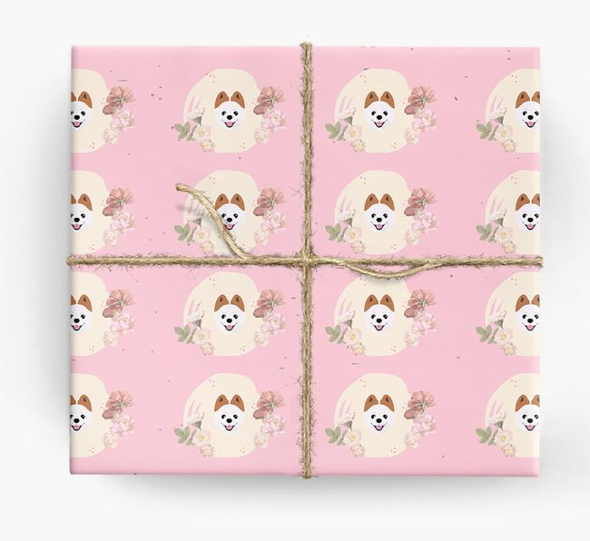 'Flower Pattern' - Personalized Pomeranian Wrapping Paper