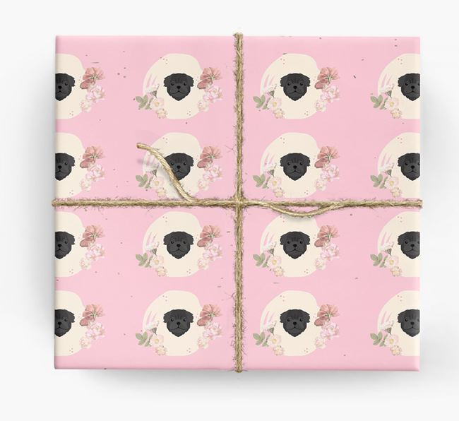 'Flower Pattern' - Personalized Pug Wrapping Paper
