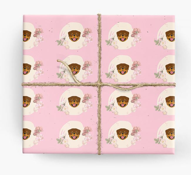 'Flower Pattern' - Personalized Rottweiler Wrapping Paper