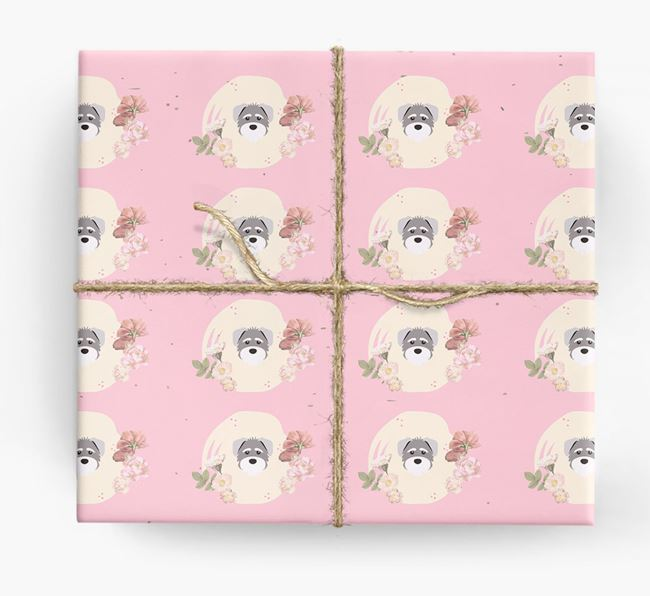 'Flower Pattern' - Personalized Schnoodle Wrapping Paper