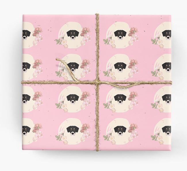 'Flower Pattern' - Personalized Siberian Cocker Wrapping Paper