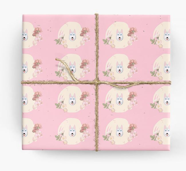 'Flower Pattern' - Personalized Siberian Husky Wrapping Paper