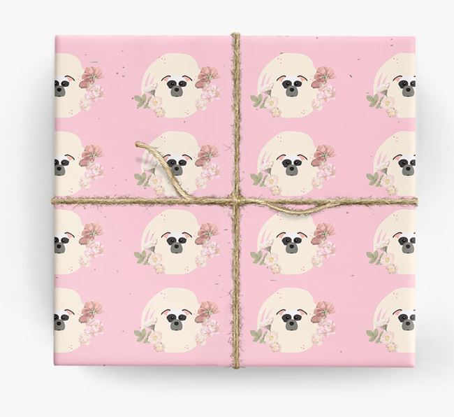 'Flower Pattern' - Personalized Staffordshire Bull Terrier Wrapping Paper