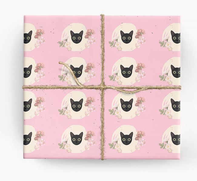 'Flower Pattern' - Personalized Cat Wrapping Paper