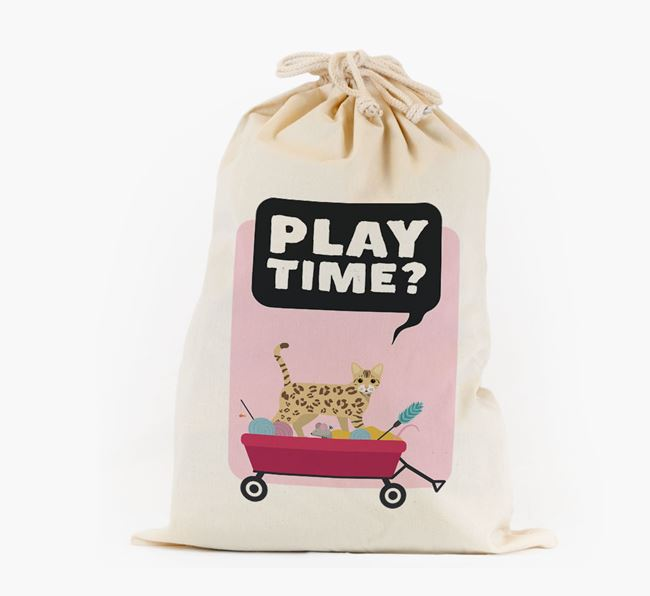 'Play Time?' - Personalised Toy Sack with Bengal Icon