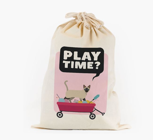 'Play Time?' - Personalised Toy Sack with Siamese Icon