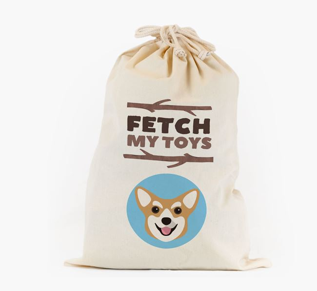 Personalised 'Fetch My Toys' Toy Sack for your Corgi