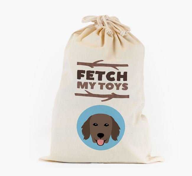 Personalised 'Fetch My Toys' Toy Sack for your Flat-Coated Retriever