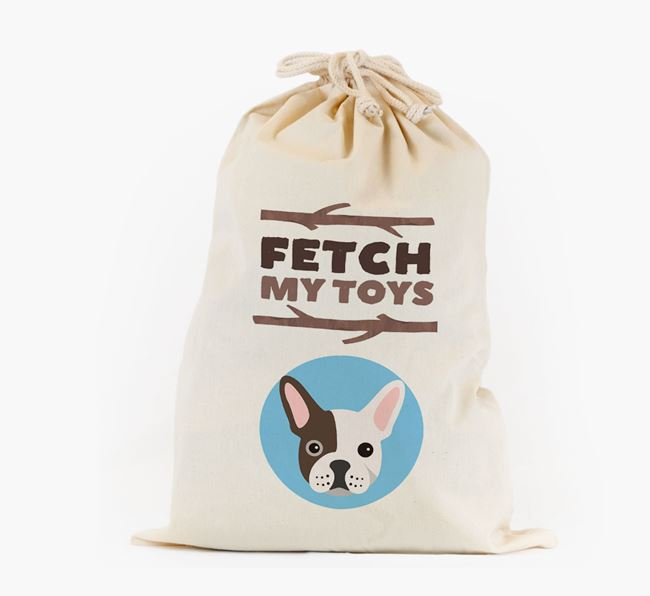 Personalised 'Fetch My Toys' Toy Sack for your French Bulldog