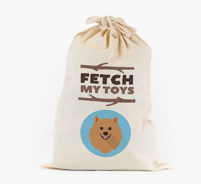 Personalised 'Fetch My Toys' Toy Sack for your Pomeranian