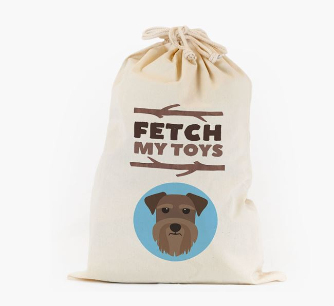 Personalised 'Fetch My Toys' Toy Sack for your Schnauzer