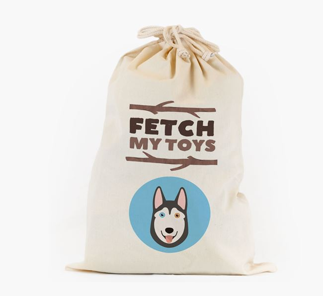 Personalised 'Fetch My Toys' Toy Sack for your Siberian Husky