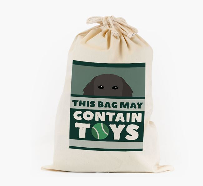 Personalised 'May Contain Toys' Toy Sack for your Flat-Coated Retriever