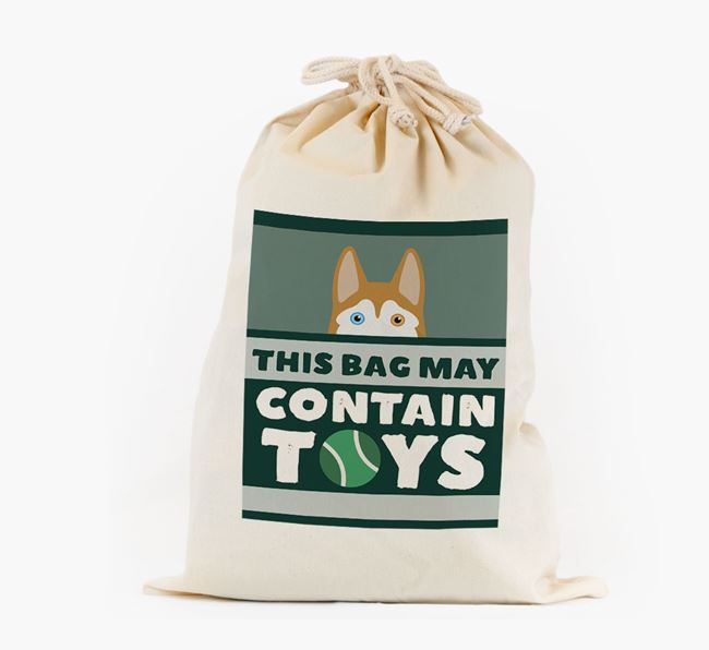 Personalised 'May Contain Toys' Toy Sack for your Siberian Husky