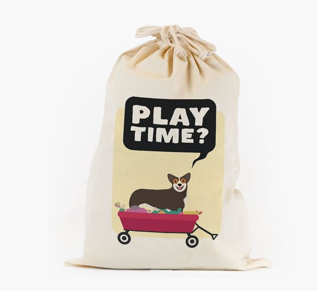 Personalised 'Play Time?' Toy Sack for your Corgi