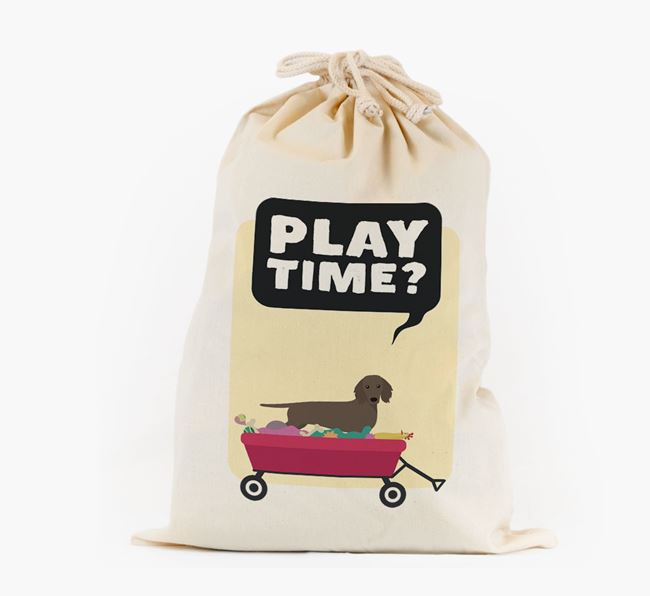 Personalised 'Play Time?' Toy Sack for your Dachshund