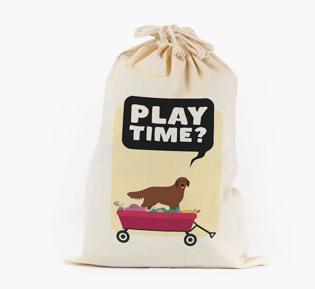 Personalised 'Play Time?' Toy Sack for your Flat-Coated Retriever