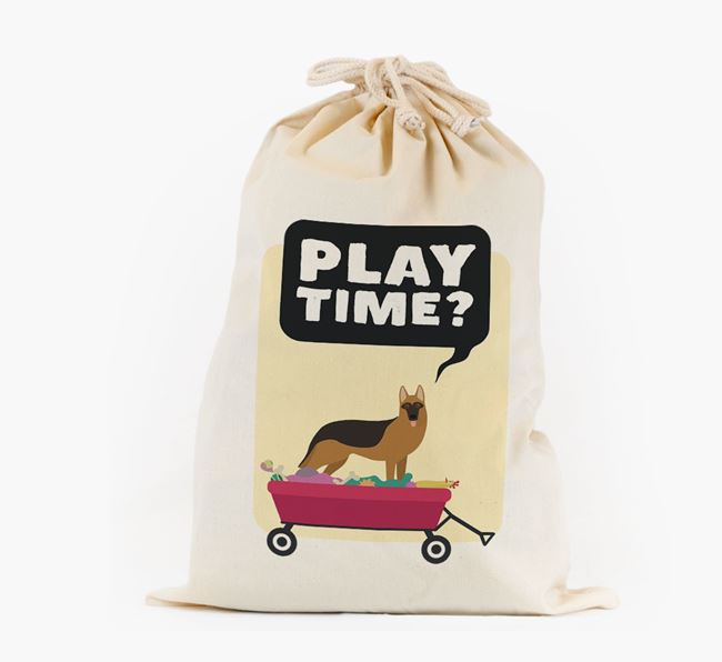 Personalised 'Play Time?' Toy Sack for your German Shepherd