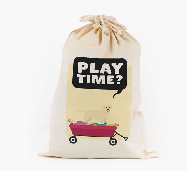Personalised 'Play Time?' Toy Sack for your Golden Labrador