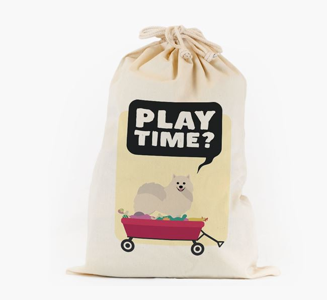 Personalised 'Play Time?' Toy Sack for your Pomeranian