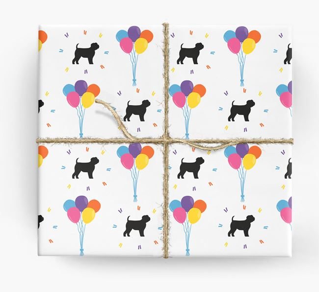 Birthday Balloon Wrapping Paper with Affie Silhouettes