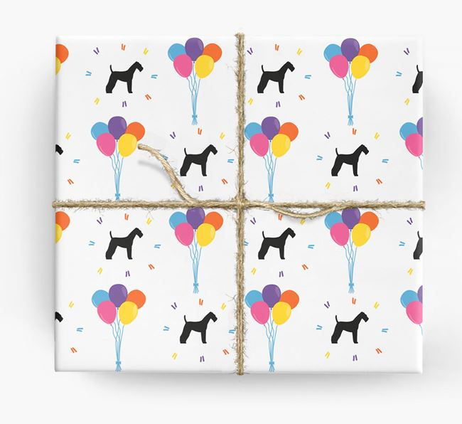 Birthday Balloon Wrapping Paper with Airedale Silhouettes