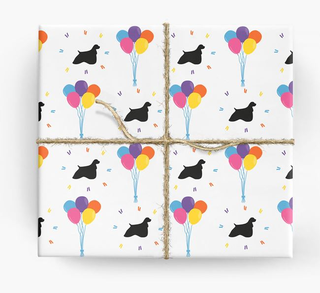 Birthday Balloon Wrapping Paper with Cocker Spaniel Silhouettes