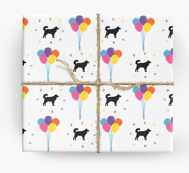 Birthday Balloon Wrapping Paper with Aussie Shepherd Silhouettes