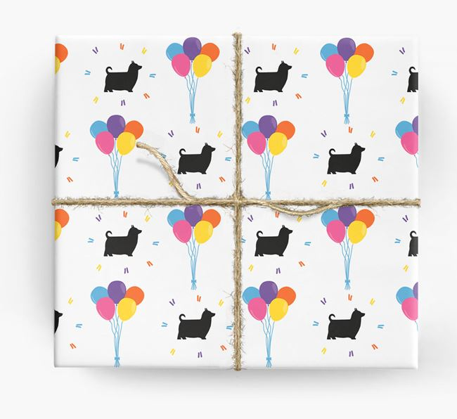 Birthday Balloon Wrapping Paper with Silky Terrier Silhouettes